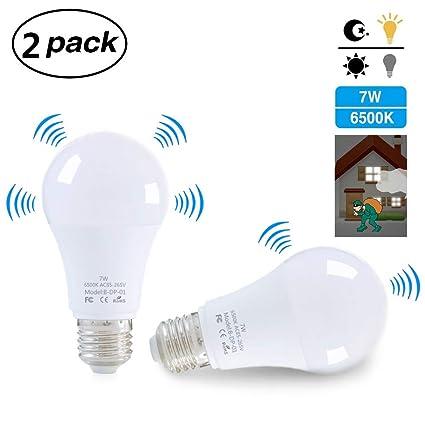 Lixada 2pcs E27 Bombilla de Luz LED con Sensor de Movimiento de Luz Inteligente Sensor de