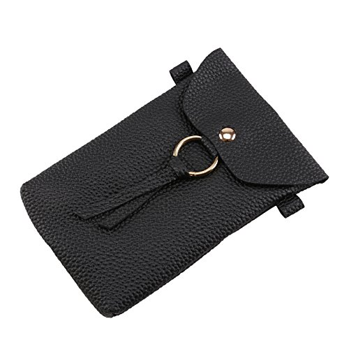Mini Black Universal Leather Bag Coin Phone DHOUTDOORS PU Shoulder With Bag Wallet Phone Crossbody Black Pouch Women Cell Strap U0wqH