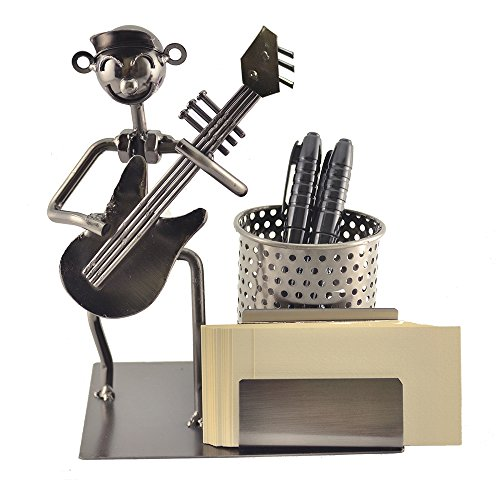 Metal Guitar Player Pencil Pen and Business Card Holder Character