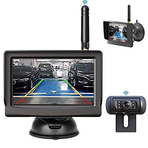 HSRpro Draadloze draadloze achteruitrijcamera & monitor met ingebouwd draadloos signaal. IP68 waterdicht, nachtzicht…
