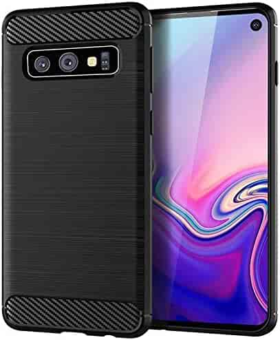 Case Compatible with Samsung Galaxy S10/Galaxy S10+ Shockproof Silicone Brushed Grip Case Protective Case Cover for Samsung Galaxy S10E Screen Protector (Black, S10 Plus)
