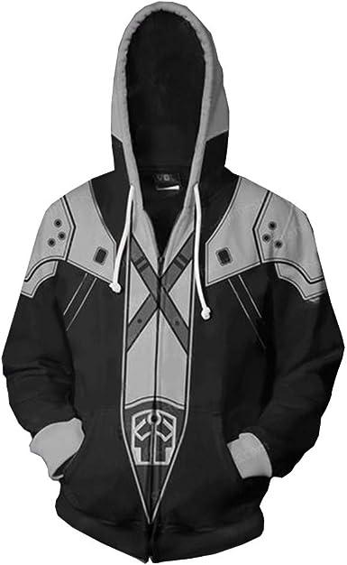 Anime Final Fantasy Unisex Hoodie Sweatshirts Hooded Coat Zipper Jacket Cosplay