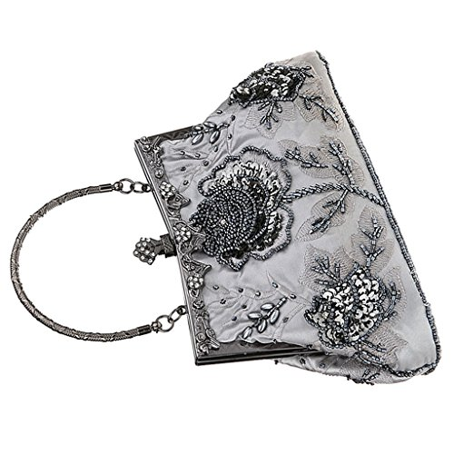 Embroidery Bridal Gray Clutch Bag Handbag blue Women as dark Shoulder Prettyia Bag P Wedding Bag Evening described xTE4n
