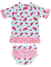 39bf07bf83b89 Little Girls Short Sleeve Printed Rash Guard Two Piece Swimsuit Set UPF 50+  Sun Protection