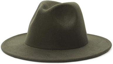 GEMVIE Womens Black Wool Fedora Hat Brim Flat Trilby Hat with White Line Accent