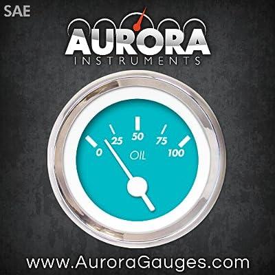Aurora Instruments 3722 Muscle Black SAE Oil Pressure Gauge Orange Vintage Needles, Chrome Trim Rings, Style Kit DIY Install