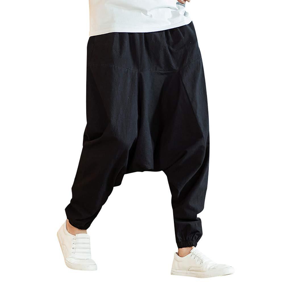 Amazon.com: Mens Baggy Harem Pants - Men Cotton Wide Leg ...