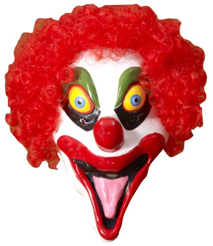 Smiley the Clown - Colorful Halloween Latex Mask with RED hair - (Pmg Halloween Masks)