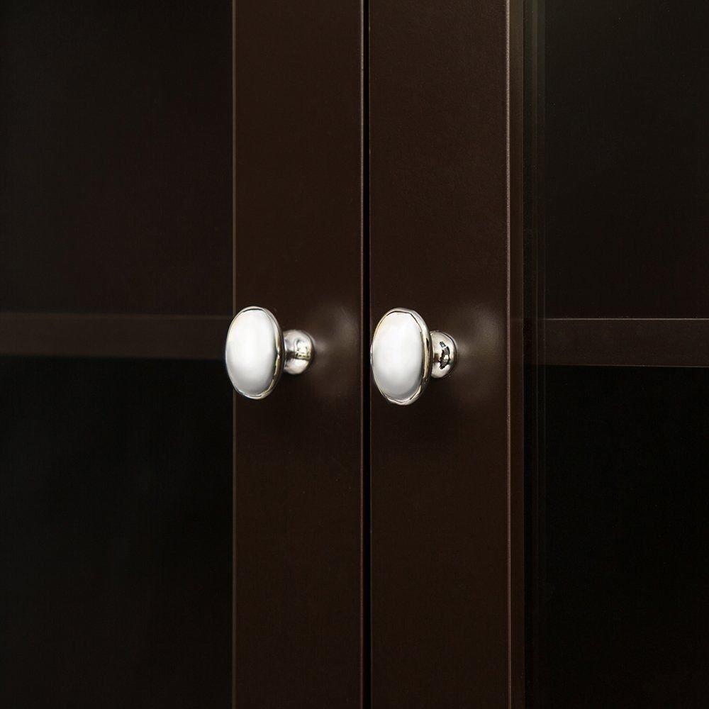 Glitzhome Wooden Storage 24'' x 68.26'' Free Standing Cabinet, Espresso Finish