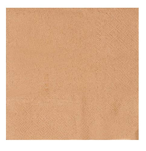 Kraft Cocktail Napkins - 500-Pack Natural Brown 5 x 5 Inches Disposable Paper Beverage Napkins, 2-Ply, Catering, Bulk Restaurant Supply