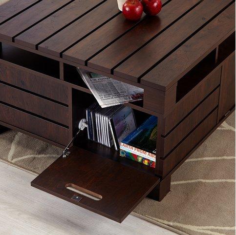 Amazon.com: Creta cuadrado rústico clásico Nogal salón mesa ...