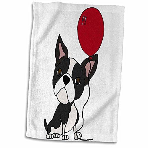 (3dRose All Smiles Art Pets - Funny Cute Boston Terrier Dog with Balloon Cartoon - 15x22 Hand Towel (twl_263768_1))