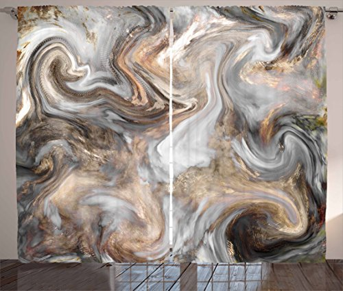 Ambesonne Marble Curtains, Retro Style Paintbrush Colors in Marbling Texture Watercolor Artwork, Living Room Bedroom Window Drapes 2 Panel Set, 108 W X 63 L Inches, Sand Brown Dust Light Grey