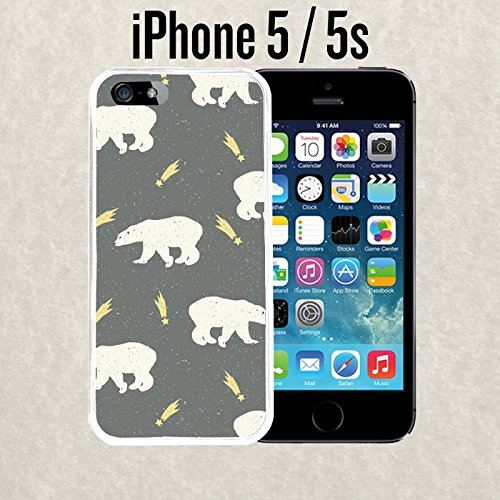 iPhone Case Shooting Stars and Polar Bears For iPhone 5 / 5S Plastic White With Free .33 mm Premium Tempered Glass Screen Protector (Ships from California from Casematic)