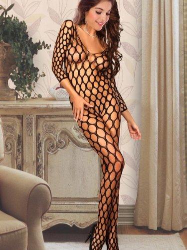O Crotchless Big Hole Fishnet Bodystocking Sexy Lingerie ...