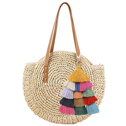 COOFIT Straw Beach Bag, Round Straw Bag Pompom Shoulder Bag Beach Summer Woven Bags