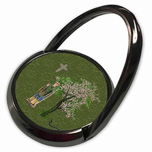 (3dRose Beverly Turner St Patrick Day Design - Saint Patrick, Staff, Cross, Snake, Pink Blooming Tree, Green Damask - Phone Ring)