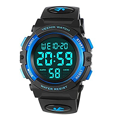 Kids Digital Sport Watch Led Military 50M Waterproof Electronic Wrist Watches with Alarm Chime Hourly Luminous 12/24 H Stopwatch Calendar Date for Boy Girl – Blue by Zhiyuan E-commerce co., Ltd
