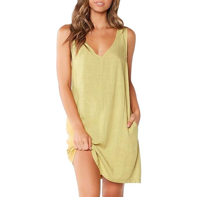 3b6ba3bc2 Keepwin Mujeres Casual Verano Mangas Corta Vestido De Playa con Bolsillo  T-Shirt Vestido TúNica Mini Dress  Amazon.es  Ropa y accesorios
