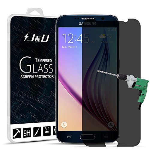 J&D Compatible for 1-Pack for Galaxy S6 Screen Protector, [Privacy] [Tempered Glass] Privacy Anti-Spy Screen Protector Shield for Samsung Galaxy S6 Screen Protector