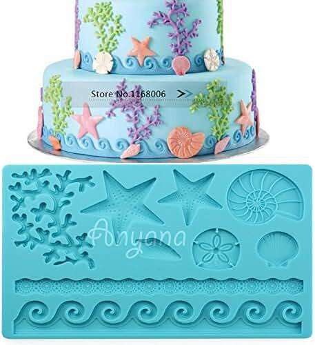 Anyana Sea Shell starfish Fondant Silicone mold Wedding Cake Mould Chocolate Decoration Tools Candy Sugarcraft cookie baking 018a