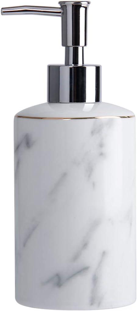 White Soap Dispenser for Bathroom Kitchen Countertop Lotion & Liquid Dispenser Soap Bottle Ceramic Soap Pump Marble Hand Soap Dispenser 12 oz