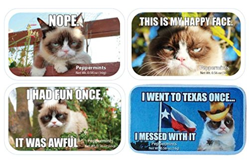 Grumpy Cat Sugar Free Peppermints Candy Tin 4 Saying Variety Bundle: (1) Nope, (1) I Had Fun Once, It Was Awful, (1) This Is My Happy Face, and (1) I Went To Texas Once. I Messed With It.56 Oz Ea -