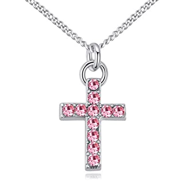 51b407cfd Andyle Cubic Zirconia Silver Tone Crystal Cross Pendant Necklace for Teens,  Girls, Women (