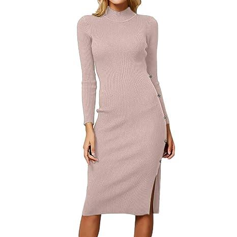 b8572180fd9f Donna Autunno Inverno Maglia Lunga Pullover Vestito Elegante Felpe Oversize  Ragazza Vestiti Linea A Swing Abito