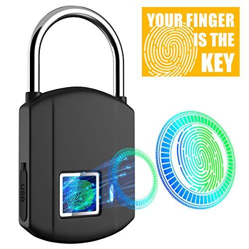 Fingerprint Padlock, IP65 Waterproof Smart Biometric Lock, Keyless Digital Outdoor Travel Locks, USB Recharge Security Metal Thumbprint Stoplock for Gym, School Locker, Door, Suitcase, Backpack, Bike