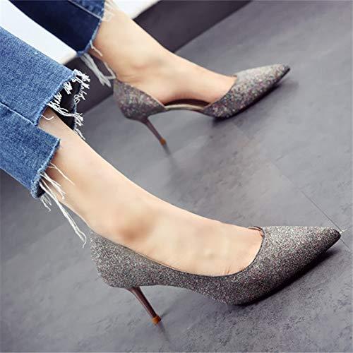 de otoño Zapatos Puntiagudas y Moda Zapatos Primavera tacón Solo YMFIE Estilete Zapatos de Boda Banquete de de Alto black Lentejuelas Temperamento 1nEtwx