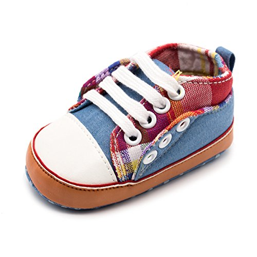 Z-T FUTURE Baby Canvas Shoes - Infant Boys Girls Crib Shoes Toddler Sneakers for 0-18 Months (4.6 inches (6-12 Months), A-Blue)