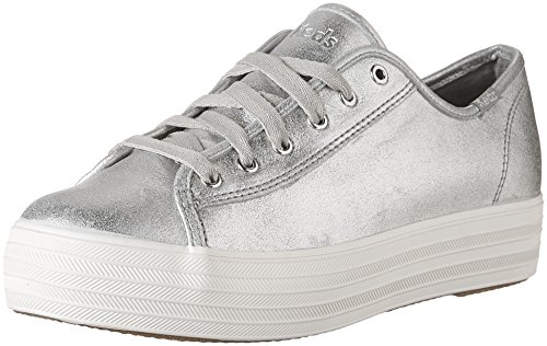 Triple Fashion Women's Kick Suede Metallic Keds Sneakers Silver w56gHq77x