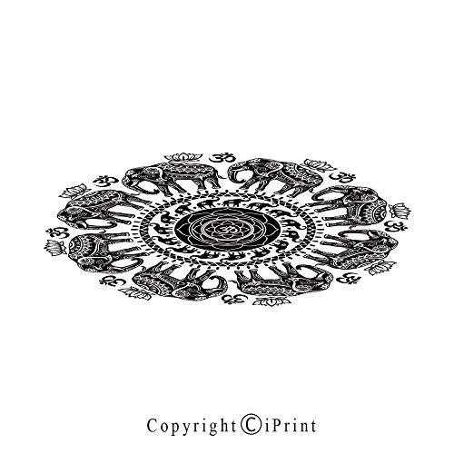 (Elephant Mandala Large Premium Quick Dry Cotton & Microfiber Bath Towel,Ethnic Asian Belief Spirit Animals Circle with Floral Paisley Details,for Travel Sports & Beach,W70.8 x L31.4 Black and White)