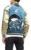 Japanesque Script Japanese Souvenir Jacket 3RSJ-036 Penguin Men's Sukajan Blue (X-Large)