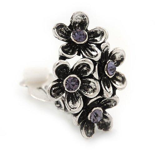 Boucles d'oreille clips cristal violet argent brûlé- longueur 2,5cm