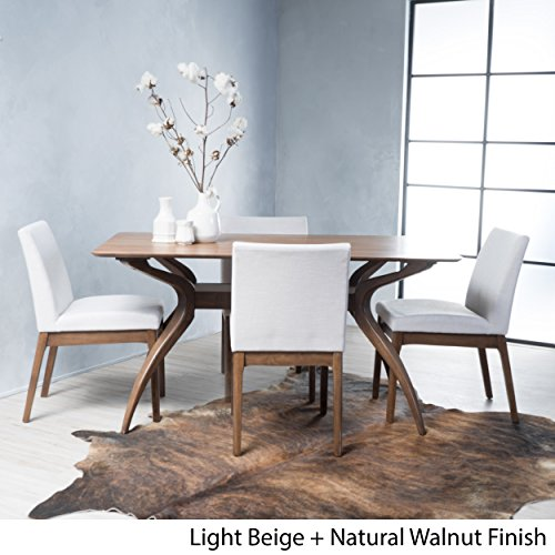 Table Dining Rectangular Modern (Katherine Light Beige Fabric/ Natural Walnut Finish Curved Leg Rectangular 5 Piece Mid Century Modern Dining Set)