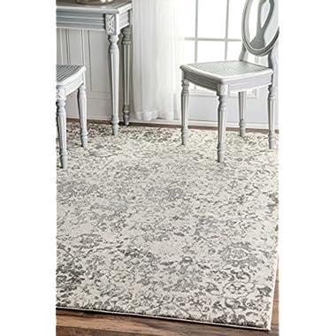 Traditional Vintage Fleur-De-Lis Damask Vineyard Grey Area Rugs, 5 Feet by 7 Feet 5 Inches (5' x 7' 5 )