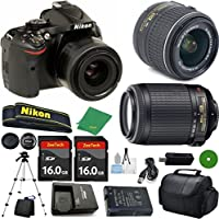 Nikon D5200 - International; Version (No Warranty), 18-55mm f/3.5-5.6 DX VR, Nikon 55-200mm f4-5.6G VR, 2pcs 16GB Memory, Camera Case