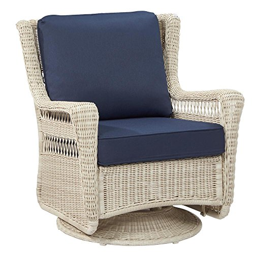- Hampton Bay Park Meadows Off-White Swivel Rocking Wicker Outdoor Lounge Chair with Midnight Cushion