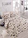 3 Pcs Soft Colored Full and Double Bedroom Bedding 65% Cotton 35% Polyester Double Quilted Bedspread Set 100% Fiber Filling Padded / Dog Animal Cute Sweet Pattern Pink Background / Bedspread Set