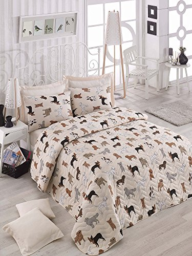 3 Pcs Soft Colored Full and Double Bedroom Bedding 65% Cotton 35% Polyester Double Quilted Bedspread Set 100% Fiber Filling Padded / Dog Animal Cute Sweet Pattern Pink Background / Bedspread Set by LaModaHome