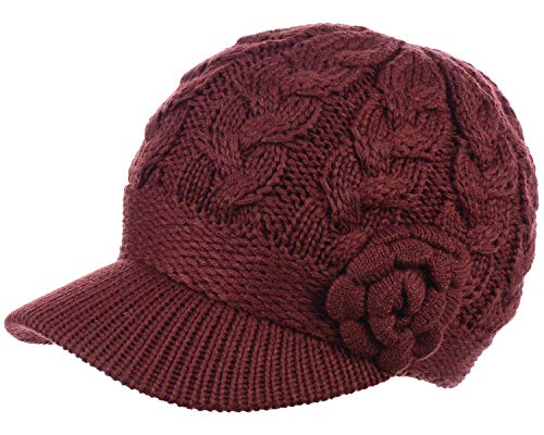 (BYOS Womens Winter Chic Cable Warm Fleece Lined Crochet Knit Hat W/Visor Newsboy Cabbie Cap)