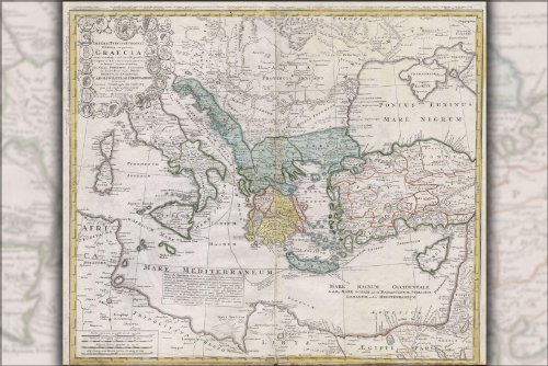 Poster 1741 Map Of Ancient Greece And The Eastern Mediterranean Sea