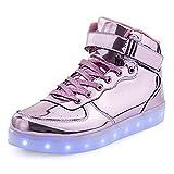 KUshopfast BeKing Kids High Top Light Up Shoes LED Flashing Sneakers For Boys Girls LMpink38