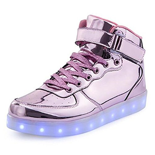 Girls Light Up Shoes (BeKing Kids High Top Light Up Shoes LED Flashing Sneakers For Boys Girls LMpink31)
