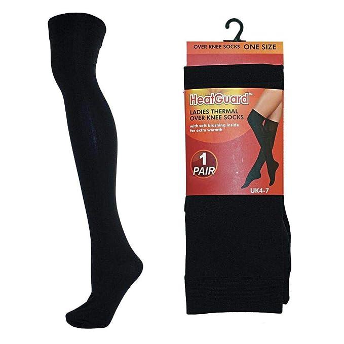 Juego de 2 pares de calcetines térmicos por encima de la rodilla, negros, para mujer - 37-41 - Negro: Amazon.es: Ropa y accesorios
