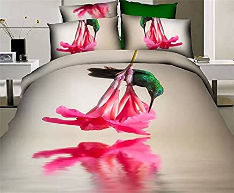 Newrara 3d Bedding Set,flower And Bird Bedding Set, Pure Cotton Flower And  Bird