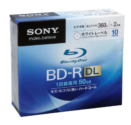 Sony Blu-ray Disc 10 Pack - 50GB 2x Speed BD-R DL Version 2010 - White Inkjet Printable by Sony
