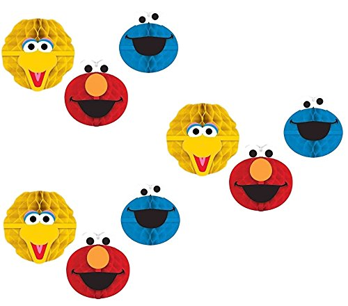Sesame Street Party Hanging Honeycomb Decor Big Bird, Elmo and Cookie Monster(3pk)